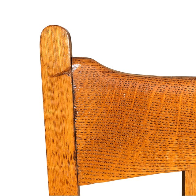 Early 20th Century Antique Quartersawn Mission Oak Rocking Chair For Sale - Image 6 of 11