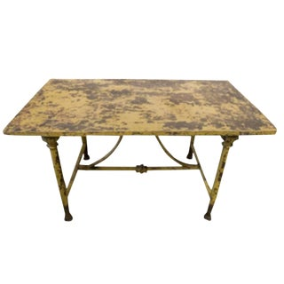 Antique Italian Yellow Patina Iron Garden Table, Circa 1900 For Sale