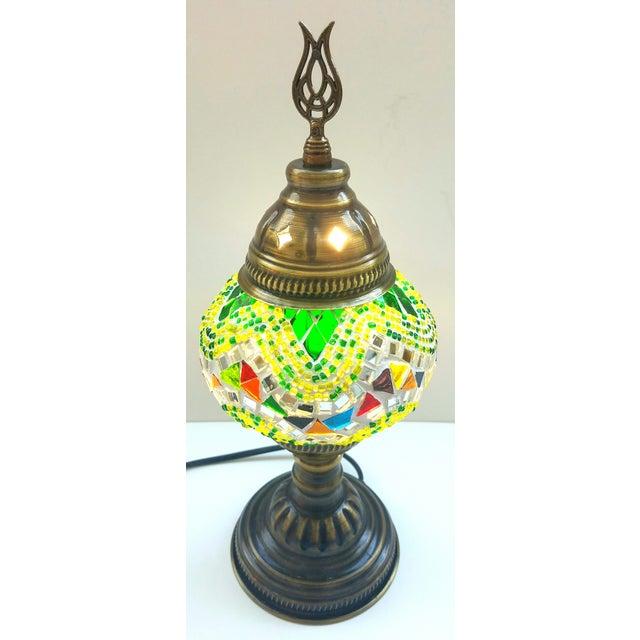 Turkish Handmade Green Mosaic Lamp - Image 3 of 3