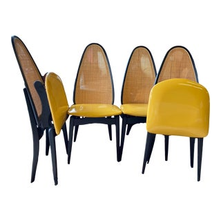 1960s Stakmore Folding Furniture Caned Chairs - Set of 4 For Sale