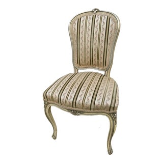 Vintage Carved & Painted Distressed Side Chair W/Striped Fabric For Sale