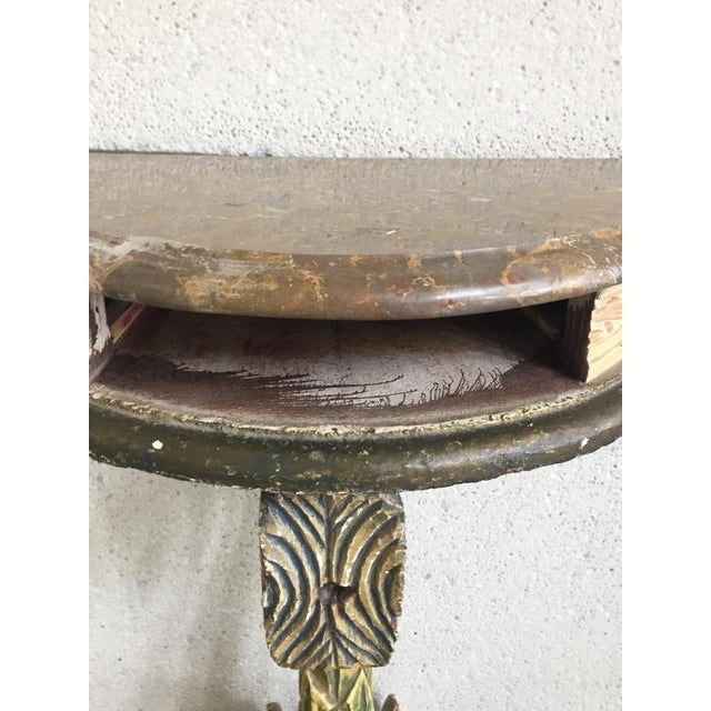 Antique Painted Carved Demi-Lune Table Stand For Sale - Image 9 of 12