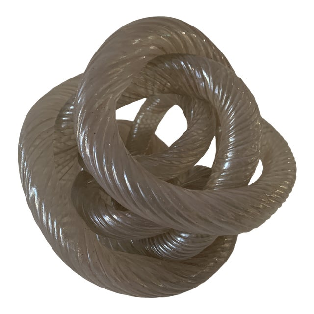 Mid 20th Century Twisted Rope Glass Knot Sculpture For Sale