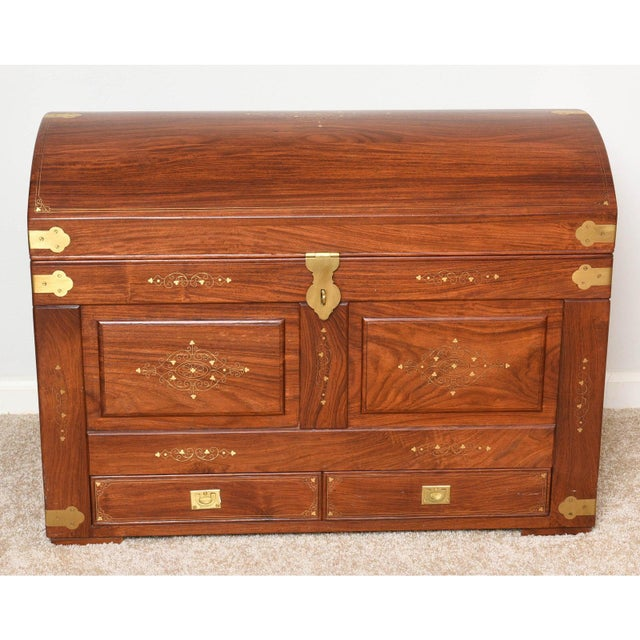 Brown Mid-Century Anglo-Indian Domed Trunk For Sale - Image 8 of 12
