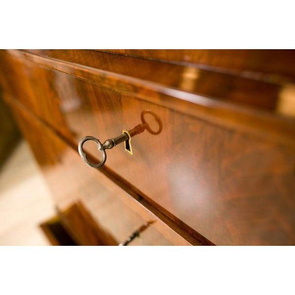 Brown 19th-Century Biedermeier Secretary Desk Veneered with Mahogany For Sale - Image 8 of 11
