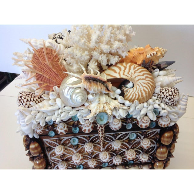 """Nautical """"El Morocco"""" Shelled Treasure Chest, Original Design, Signed by Coquillage Artist For Sale - Image 3 of 6"""