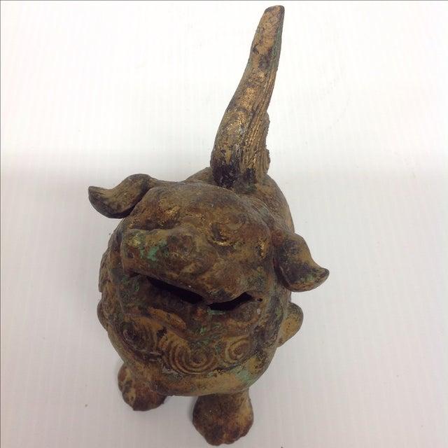 Vintage Japanese Patinated Foo Dog Incense Burner For Sale - Image 7 of 8