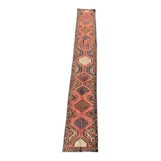 1970s Vintage Persian Hamadan Runner Rug - 2′4″ × 17′10″ For Sale