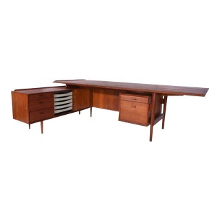 Arne Vodder Teak Executive Desk, Denmark, 1960s For Sale