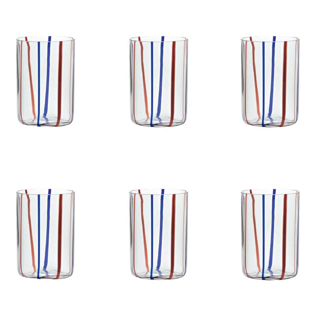 Tirache Tumbler in Amethyst & Blue - Set of 6 For Sale