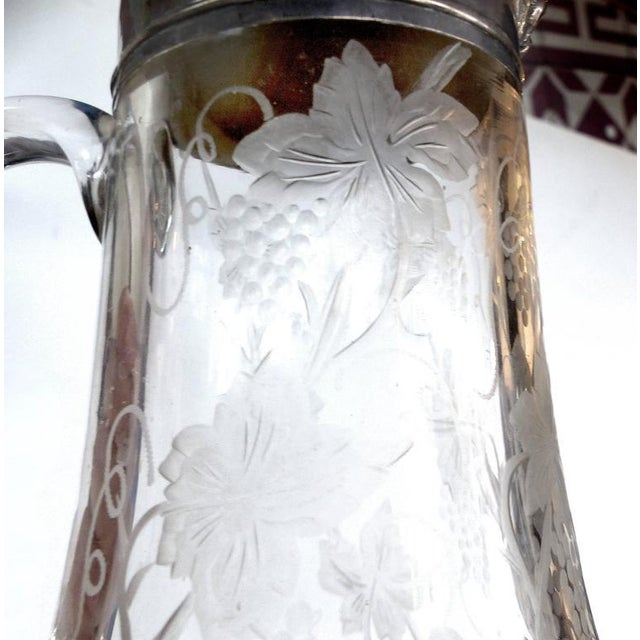Silver 19th Century Sterling Cut and Etched Claret Jug For Sale - Image 8 of 11