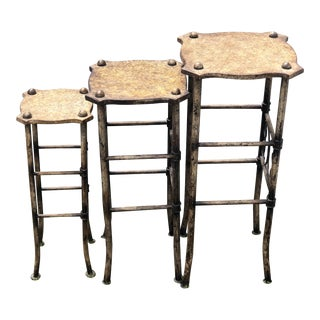 Stone and Metal Nesting Drinks Tables - Set of 3 For Sale