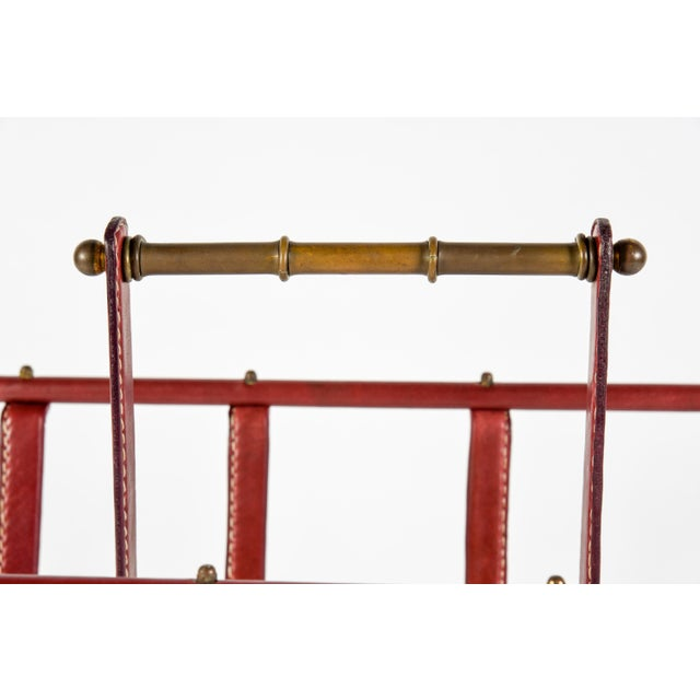 1950s 1950s Stitched Leather Magazine Rack by Jacques Adnet For Sale - Image 5 of 9