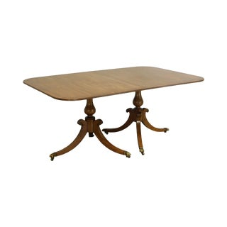 Old Colony Amber Finish Mahogany Yew Wood Banded Regency Style Dining Table For Sale