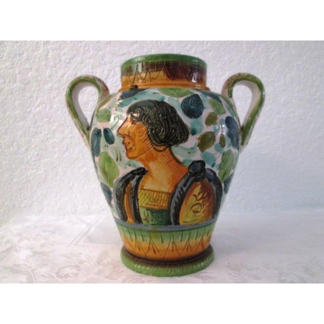 Italian Majolica Handled Vase - Image 3 of 9