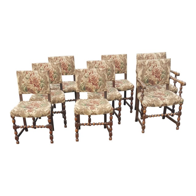 1940s Vintage Upholstered Dining Chairs- Set of 8 For Sale