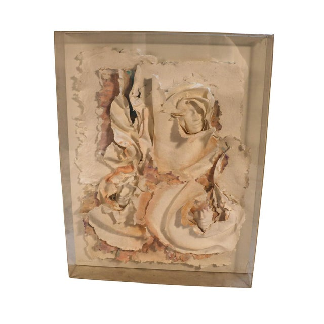 Versace Inspired Marcia Mazur-Gold and Ross Mazur Mid Century Handmade Paper Sculpture Painting For Sale - Image 11 of 11