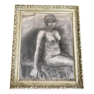 Mid-Century Framed Charcoal Nude Sketch