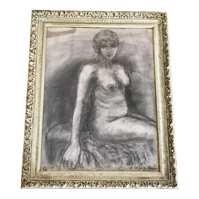 Mid-Century Framed Charcoal Nude Sketch For Sale