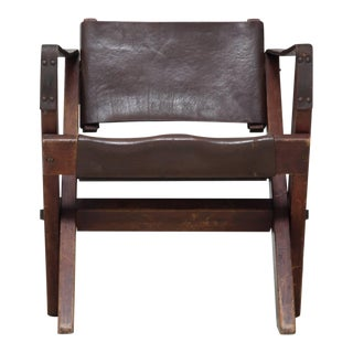 Folding Fauteuil in Oak and Dark Brown Leather For Sale