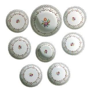Schumann Bavaria Arzber Pierced Floral Swag Gold Trim Lace Edge Dresden Serveware - 8 Pieces