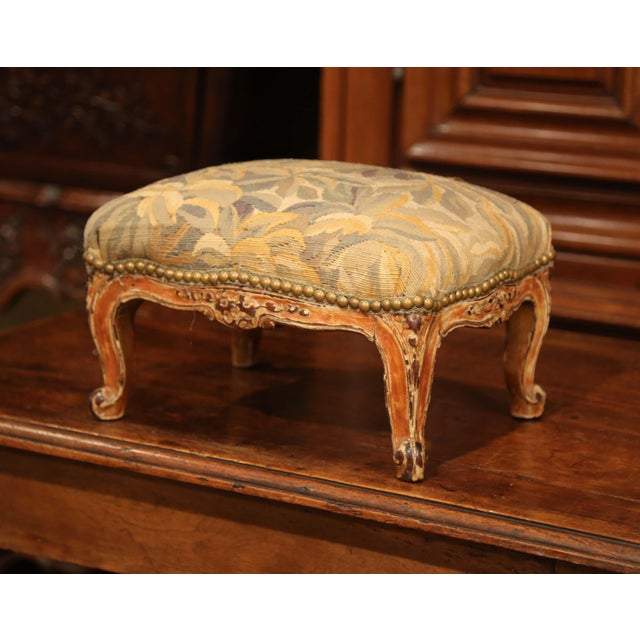 19th Century French Louis XV Carved Gilt Walnut Footstool With Aubusson Tapestry For Sale - Image 9 of 9