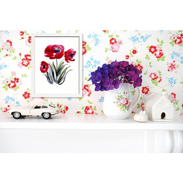 """Poppies"" Original Watercolor Painting - Image 2 of 2"