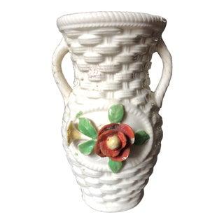 Mid-Century Japanese Majolica Basketweave Ceramic Vase For Sale