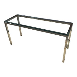 Modern Glass and Chrome Console Table For Sale