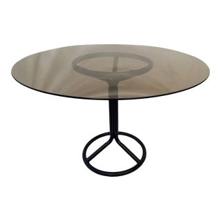 Postmodern Industrial Black Tubular & Smoked Glass Round Dining Table For Sale