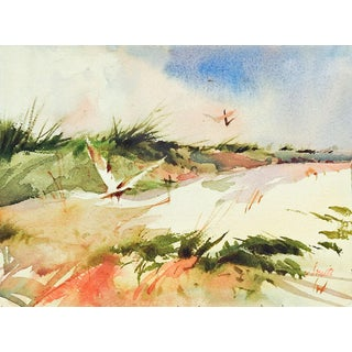 Seagulls & Sand Dunes Watercolor Painting For Sale