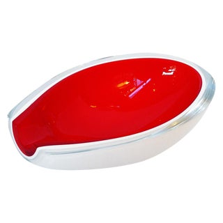 Seguso Red Opal Glass Bowl For Sale