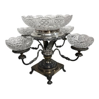Vintage Crystal and Silver Plate Epergne For Sale