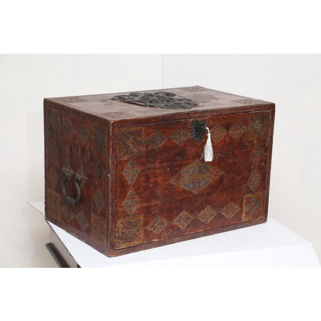 Campaign Tooled Leather Spanish Bargueno Traveling Chest For Sale - Image 3 of 8