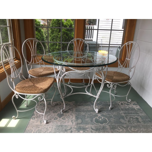 1950s French Country Wrought Iron Dining Set - 5 Pieces For Sale - Image 10 of 10