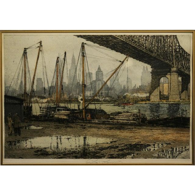 Realism Luigi Kasimir -Queensborough Bridge New York-Original Color Etching C.1936 For Sale - Image 3 of 10