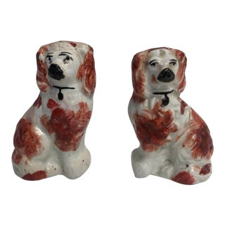1880 English Red & White Staffordshire Dogs - a Pair For Sale