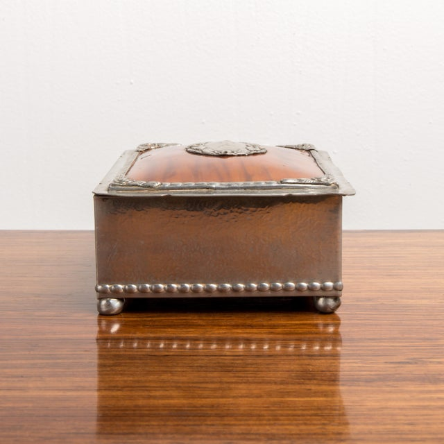 Art Deco 1940s Danish Modern Jewelry Box With Balled Feet For Sale - Image 3 of 8