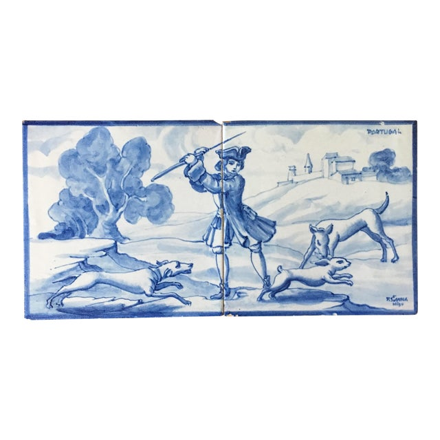 Vintage Portuguese Blue and White Tiles-A Pair For Sale