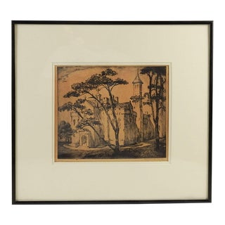 Castle Etching by Marguerite Riley For Sale