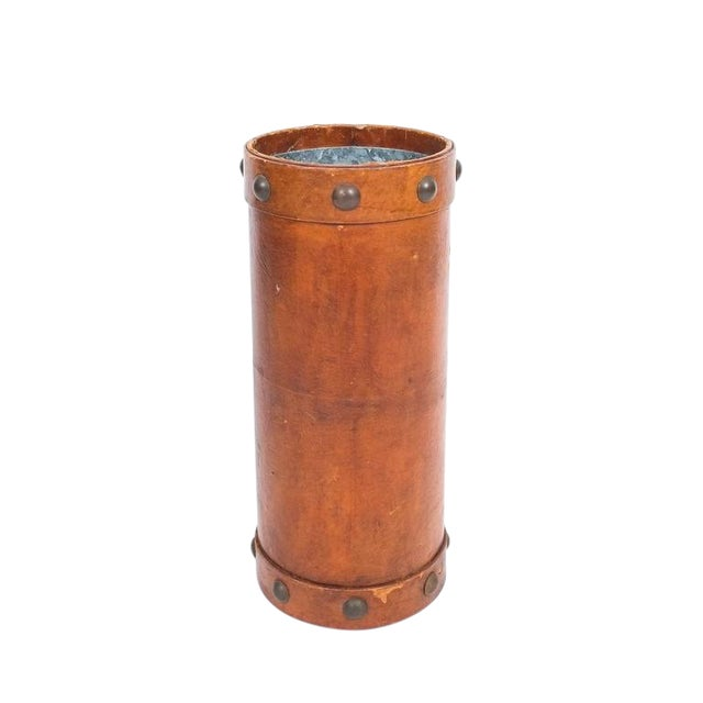 Leather Umbrella Stand with Brass Knobs, France, circa 1950 For Sale