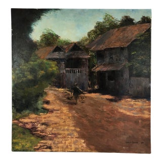 1975 Vintage Areman Oil on Canvas Landscape With Houses Signed Painting For Sale