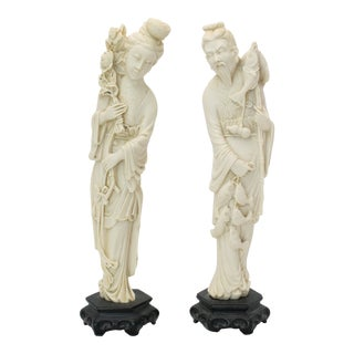 Vintage Chinoiserie Norleans Ivory Resin Figurines - a Pair For Sale