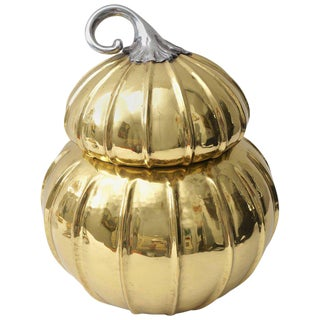 Melon-Form Brass and Silver Plate Ice Bucket For Sale