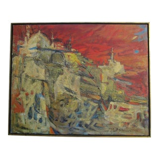Charlotte Sherman Painting Abstract Expressionism Modernism City Red Sunset Vtg For Sale