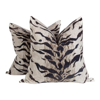 Charcoal Velvet Le Tigre Pillows - a Pair For Sale