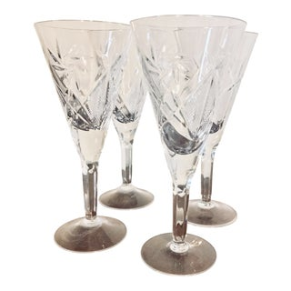 Pinwheel Cut Crystal Champagne Flute - Set of 4 For Sale