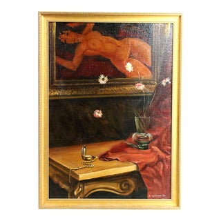 Signed Original Russian Oil Painting in Modigliani Style, 1991 For Sale