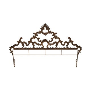 Vintage Gold Gilt Metal King Size Rococo Style Headboard For Sale