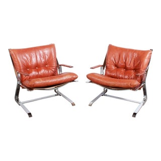 Chrome & Brown Leather Pirate Lounge Chairs by Elsa & Nordahl Solheim for Rykkin - a Pair For Sale